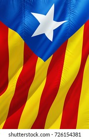 Catalonia flag. Flag of Catalan 3D rendering. Official flag of Catalonia and Catalan. Yellow, blue and red flag with star. Catalonia referendum concept. Barcelona and Catalan concept.
