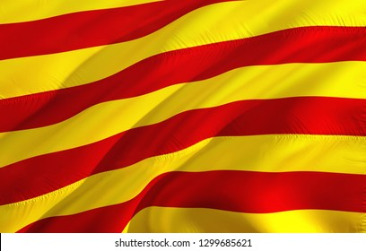 Catalonia flag waving in the wind. 3D rendering. Catalonia and Catalan independence referendum concept. La Senyera - official flag of Catalonia. Yellow red flag for Barcelona Catalonia independence