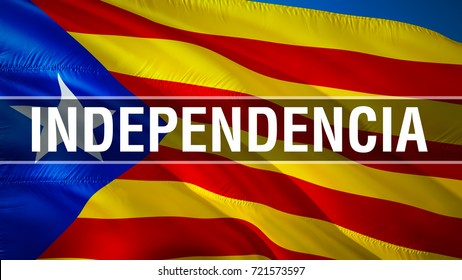 Catalonia flag waving in the wind.  3D rendering. Independencia on Catalonia. Catalan independence referendum concept. La Estelada blava - most popular flag of Catalonia and Barcelona.