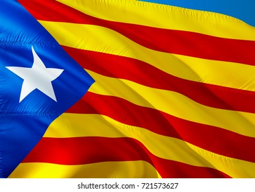 Catalonia flag waving in the wind. Catalan flag 3D rendering.Catalonia, Catalan independence referendum concept. La Estelada blava most popular flag of Catalonia and Barcelona,catalonia nation