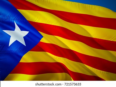 Catalonia flag waving in the wind. Catalan flag 3D rendering.independence of Catalonia, Catalan referendum concept.  La Estelada blava - most popular flag of Catalonia and Barcelona.