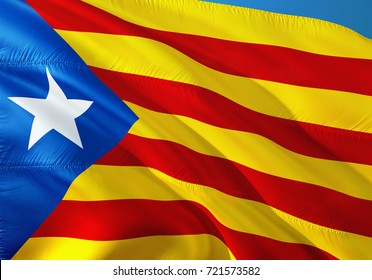 Catalonia flag waving in the wind.3D rendering.independence of Catalonia. Catalan independence referendum, Catalonia Spain. Catalan flag La Estelada blava - popular flag of Catalonia and Barcelona