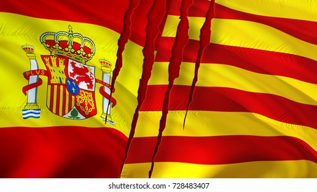 Catalonia Spain flags with scar concept. Catalonia independence referendum concept. Spain Catalonia Waving flag 3D rendering. Catalan and Barcelona independence referendum concept