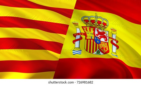 Catalonia and Spain flags. Waving flag 3D rendering. Catalonia and Catalan flag 3D rendering. Official flag of Catalan. Catalonia referendum concept. Barcelona independence concept