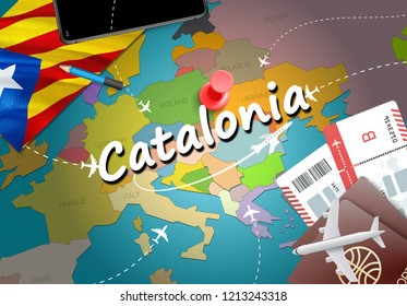 Catalonia travel concept map background with planes, tickets. Visit Catalonia travel and tourism destination concept. Catalonia flag on map. Planes and flights to Catalonian holidays to Girona