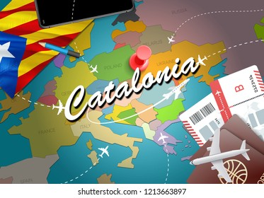 Catalonia travel concept map background with planes, tickets. Visit Catalonia travel and tourism destination concept. Catalonia flag on map. Planes and flights to Catalonian holidays Barcelona,Girona