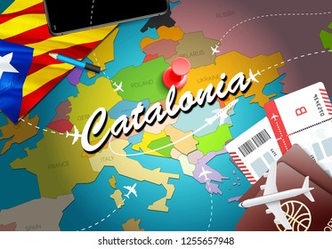 Catalonia travel concept map background with planes, tickets. Visit Catalonia travel and tourism destination concept. Catalonia flag on map. Planes and flights to Catalonian holidays to Barcelona