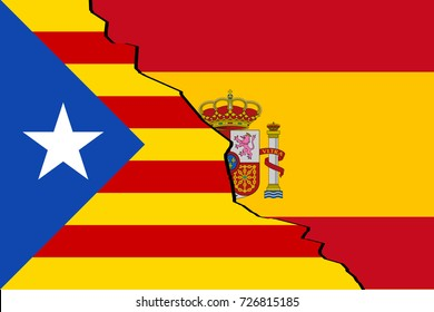 Catalonia vs Spain. Estelada flag and the official flag of Spain with crack between each other.