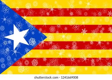 Catalonia winter snowflakes flag background.