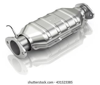 Catalytic converter with sensor flue gas (lambda sensor) on white background - 3D illustration