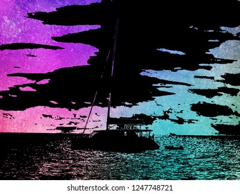 Catamaran at anchor during sunset color negative