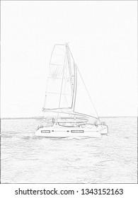 Catamaran Pencil Sketch