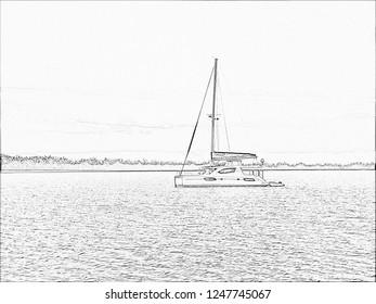 Catamaran sitting at anchor pencil sketch