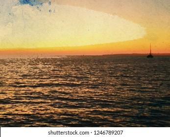 Catamaran Sunset with sailboat