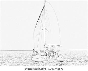 Catamaran wing on wing pencil sketch