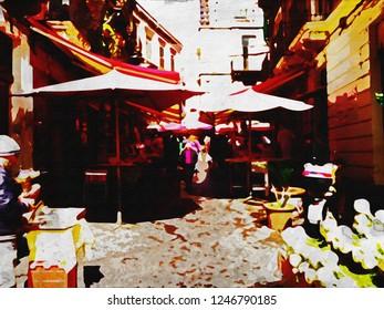 Catania Sicily Fish Market Watercolor