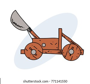 Catapult hand drawn cartoon image. Freehand artistic illustration.