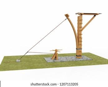 Catapult, Leonardo da Vinci, France Manuscript B / 0007v. 3D model.