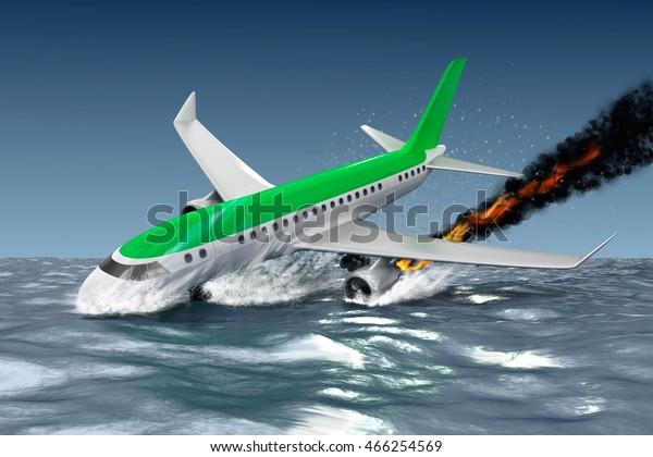 Catastrophe Crash Passenger Plane 3d Illustration Stock Illustration