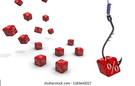 Catch the percentage! The concept of attracting customers. Symbol percentages on cube in the form of bait strung on fishing hook. 3D Illustration