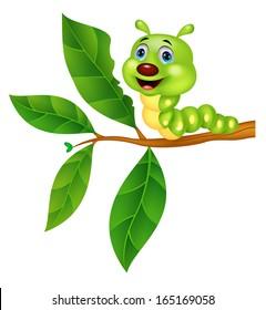 Caterpillar cartoon eating leaf