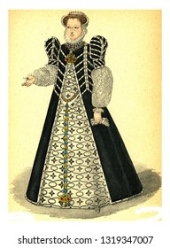 Catherine de Medicis, vintage engraved illustration. 12th to 18th century Fashion By Image.