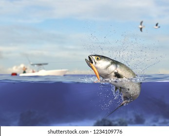 Cathing bluefish, fisherman in sport fishing boat holding ishing rod, reel  and lure bait 3d render