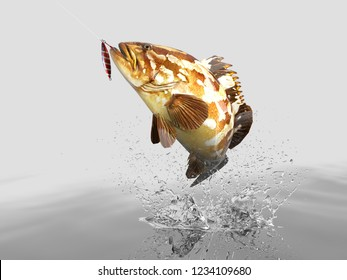 Cathing bottom dweller grouper fish in white background with splashes hooked by slow jigging jig lure 3d render