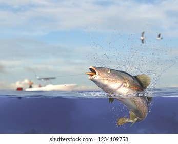 Cathing saltwater cod fish, fisherman in sport fishing boat holding ishing rod, reel  and lure bait 3d render