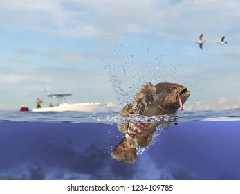 Cathing white grouper fish, fisherman in sport fishing boat holding ishing rod, reel  and lure bait 3d render