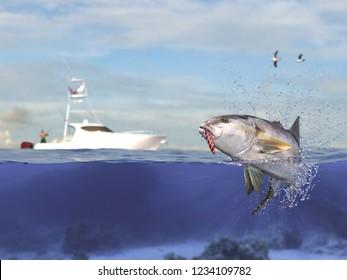 Cathing yellowtail amberjack fish, fisherman in sport fishing boat holding big game fishing rod and reel 3d render