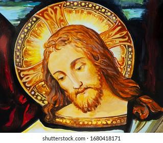 Catholic icon Jesus Christ. Oil painting