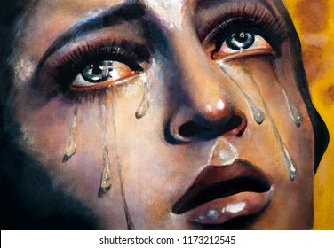 Catholic icon of the Virgin Mary. Crying of St. Mary. Tears. Oil, canvas.