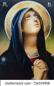 Catholic icon of the Virgin Mary. Oil, canvas.