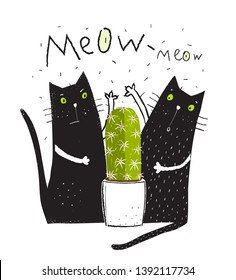 Cats and Cactus Fun Print. Cats pets and cactus doodle cartoon friends graphic design.