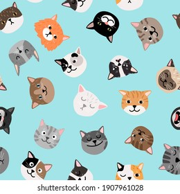 Cats characters pattern. Cute cat faces seamless pattern, colored painted kittens texture