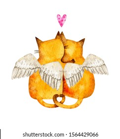 Cats in love with wings and heart. Watercolor valentine's day cute cats.  Couple of cats for postcards and invitation.