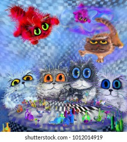 Cats' party with three flying cats