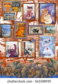 Cats' pictures on the wall