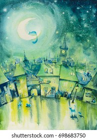 Cats town at night.Picture created with watercolors.