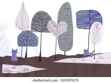 Cats walk among trees. Children 's drawing. Application, graphics