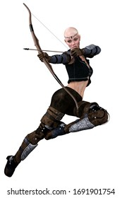 Caucasian Elf Archer Woman with Bow and Arrow on Isolated White Background, 3D illustration, 3D Rendering