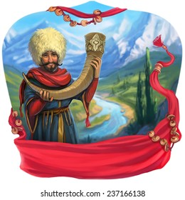 Caucasian man with a horn on a background of mountains. Tamada toast, mountains, wine, Caucasus.