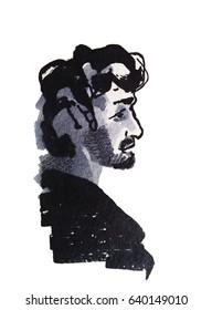 Caucasian man profile, hand drawing watercolor illustration