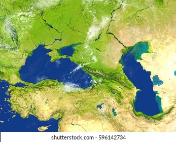 Caucasus region. 3D illustration with detailed planet surface. Elements of this image furnished by NASA.