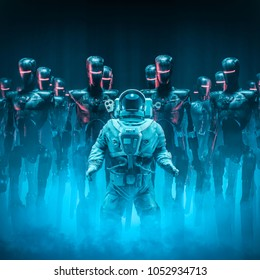Caught in the act / 3D illustration of science fiction scene with ominous military robots surrounding lone human astronaut