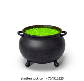 Cauldron with green magic boiling charmful bubble potion or fairy witching toxic poison soup. Object for Halloween, horror or fantastic themes. 3d rendering illustration