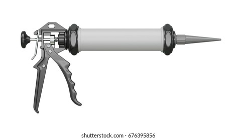 Caulk gun isolated on white. For working with adhesive, silicone and other construction fillers. 3d illustration.