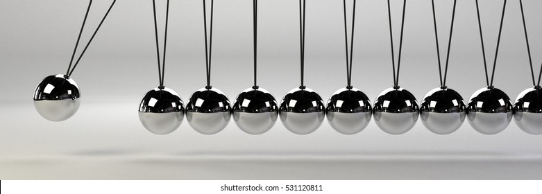 cause and effect concept banner, metal Newton's cradle on a white background, 3D illustration