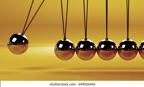 cause and effect concept, metal Newton's cradle on a white background (vintage 3D illustration)